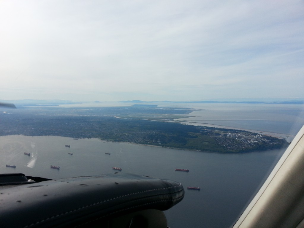 Looking out over the harbour with YVR in the background.